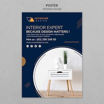 Plantilla de póster de diseño interior con foto
