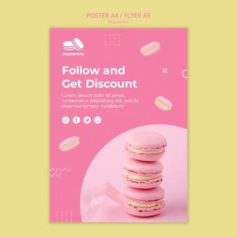 Plantilla de póster con diseño de macarons