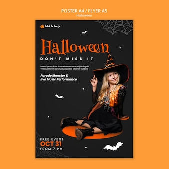Plantilla de póster de disfraces de halloween