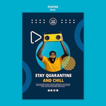 Plantilla de póster para disfrutar de la música durante la cuarentena