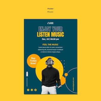 Plantilla de póster para disfrutar de la música.