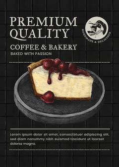 Plantilla de póster editable psd en diseño de identidad corporativa de tema empresarial para pastelería
