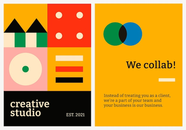 Plantilla de póster editable psd diseño plano inspirado en la bauhaus texto de estudio creativo