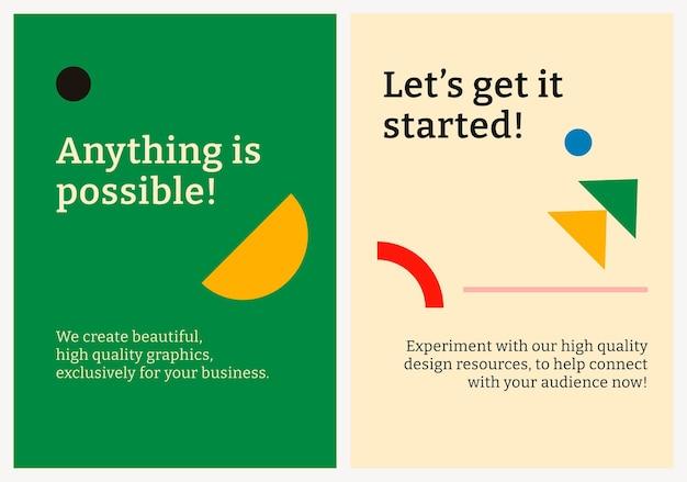 Plantilla de póster editable psd diseño plano inspirado en la bauhaus