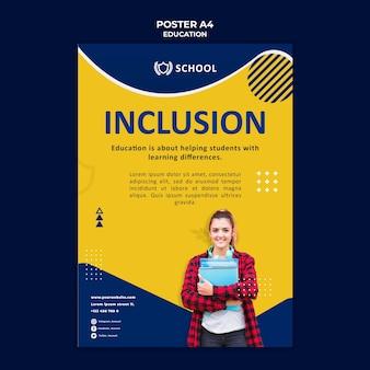 Plantilla de póster educativo con foto
