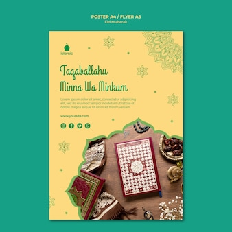 Plantilla de póster para eid mubarak