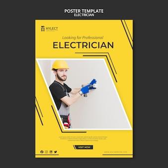 Plantilla de póster de electricista