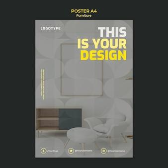 Plantilla de póster para empresa de diseño de interiores.