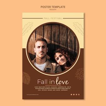 Plantilla de póster enamórate en otoño