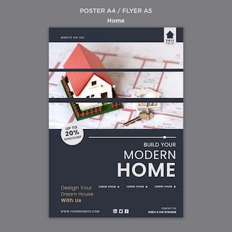 Plantilla de póster para encontrar el hogar perfecto