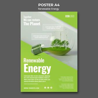 Plantilla de póster de energía renovable