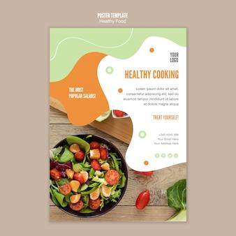 Plantilla de póster de ensalada saludable
