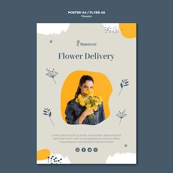 Plantilla de póster de entrega gratuita de tienda de flores