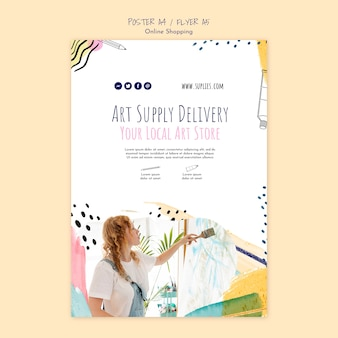 Plantilla de póster de entrega en línea de art supply