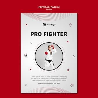 Plantilla de póster para entrenamiento de boxeo.