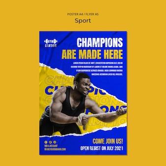 Plantilla de póster de entrenamiento de gimnasio