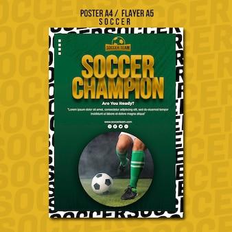 Plantilla de póster de la escuela de fútbol campeón
