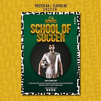 Plantilla de póster de la escuela de fútbol