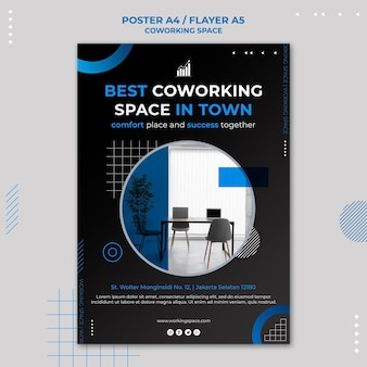 Plantilla de póster de espacio de coworking