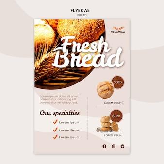 Plantilla de póster de especialidades de pan fresco
