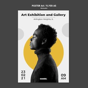 Plantilla de póster en estilo minimalista para galería de arte con hombre.