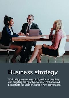 Plantilla de póster de estrategia empresarial psd personas en una reunión