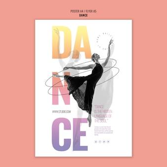 Plantilla de póster de estudio de danza
