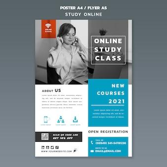 Plantilla de póster de estudio en línea