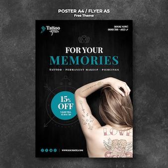 Plantilla de póster de estudio de tatuaje profesional