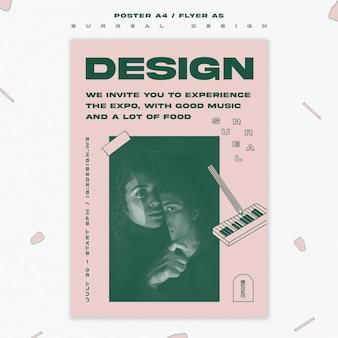 Plantilla de póster de evento de diseño surrealista