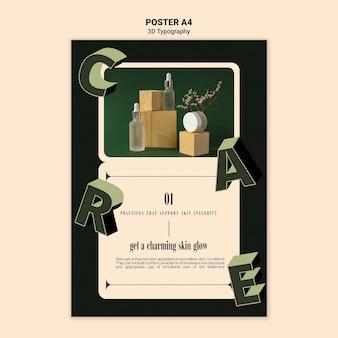 Plantilla de póster para exhibición de botellas de aceite esencial con letras tridimensionales