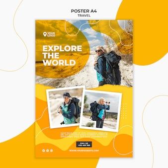 Plantilla de póster explorando el mundo.