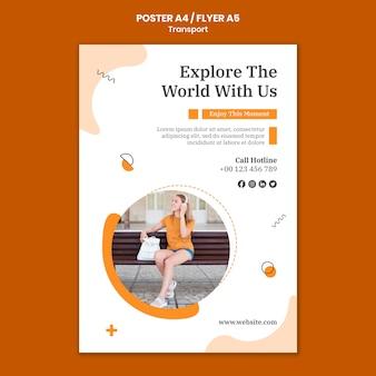 Plantilla de póster de explorar el mundo
