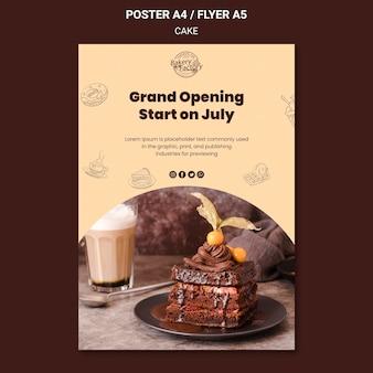 Plantilla de póster de fábrica de pasteles de gran inauguración