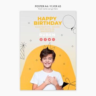 Plantilla de póster con feliz cumpleaños