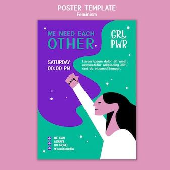 Plantilla de póster de feminismo