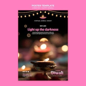 Plantilla de póster del festival de luces de diwali