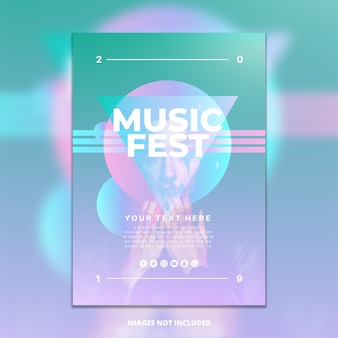 Plantilla de póster de festival de música degradado