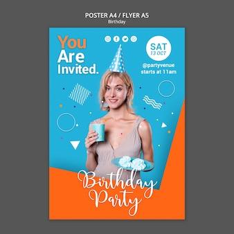 Plantilla de póster de fiesta de cumpleaños