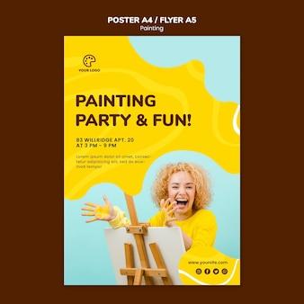 Plantilla de póster de fiesta y fondo de pintura