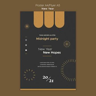 Plantilla de póster para la fiesta de medianoche de año nuevo.