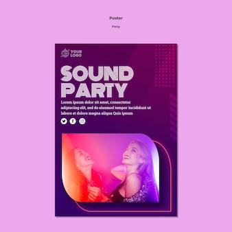 Plantilla de póster de fiesta de sonido