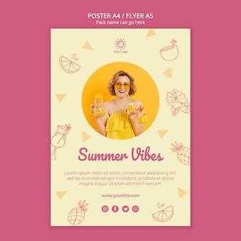 Plantilla de póster con fiesta de verano