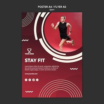 Plantilla de póster para fitness y deporte