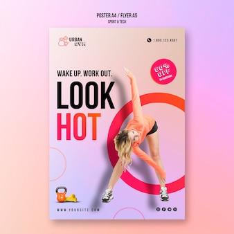 Plantilla de póster para fitness y ejercicio