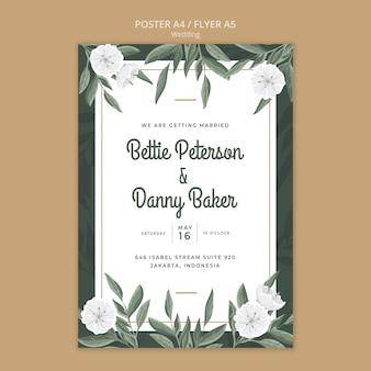 Plantilla de póster floral para boda
