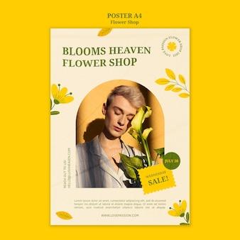 Plantilla de póster de floristería