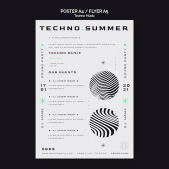 Plantilla de póster de fondo blanco de música techno