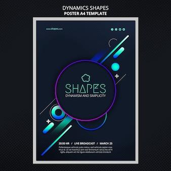 Plantilla de póster con formas geométricas dinámicas de neón.