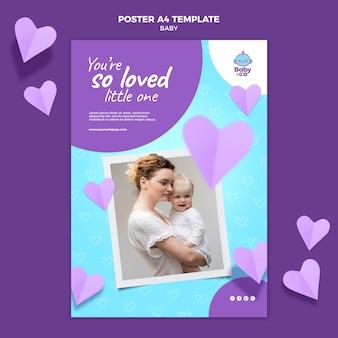 Plantilla de póster de foto de bebé